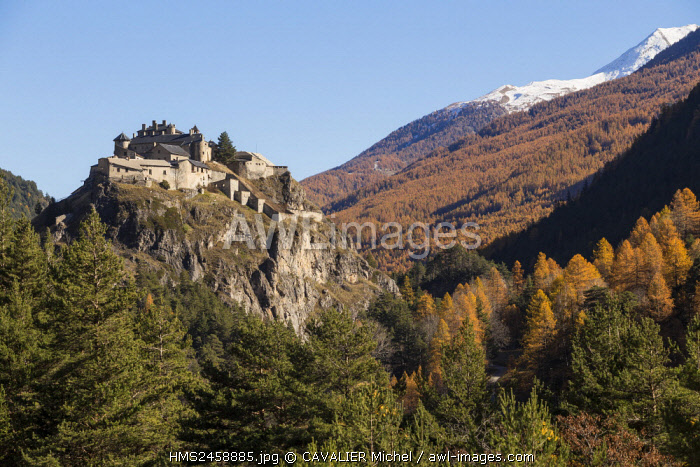 France, Hautes Alpes, regional natural reserve of Queyras, Chateau Ville Vieille, Fort Queyras (1400m), medieval citadel restored by Vauban in 1700