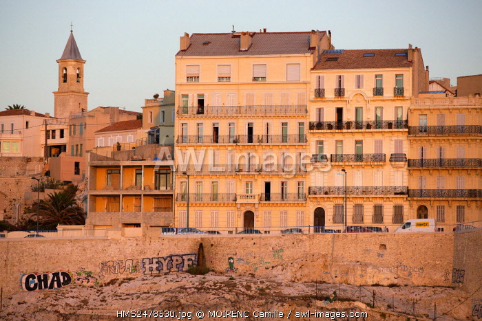 France, Bouches du Rhone, Marseille, Endoume district, Corniche JF Kennedy, Church of St. Eugene