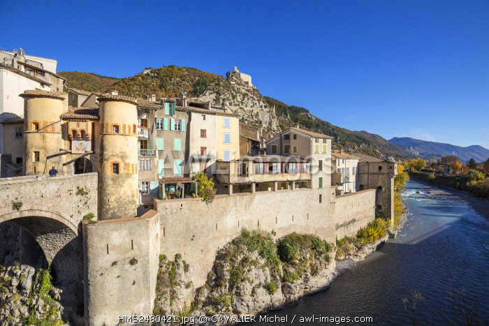 France, Alpes de Haute Provence, Entrevaux classified village and city of character, strengthened by Vauban, lined by the river the Var