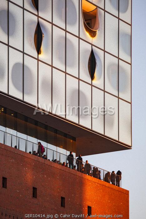 Architectural window / facade detail of the Elbphilharmonie Hamburg, designed by Herzog & de Meuron Architects at sunset, Speicherstadt, Hamburg, Germany.