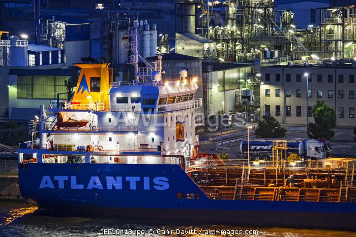 The Maltese flagged oil / chemical tanker, the Atlantis Augusta berthed in Hamburg Port, Kleiner Grasbrook, Hamburg, Germany.