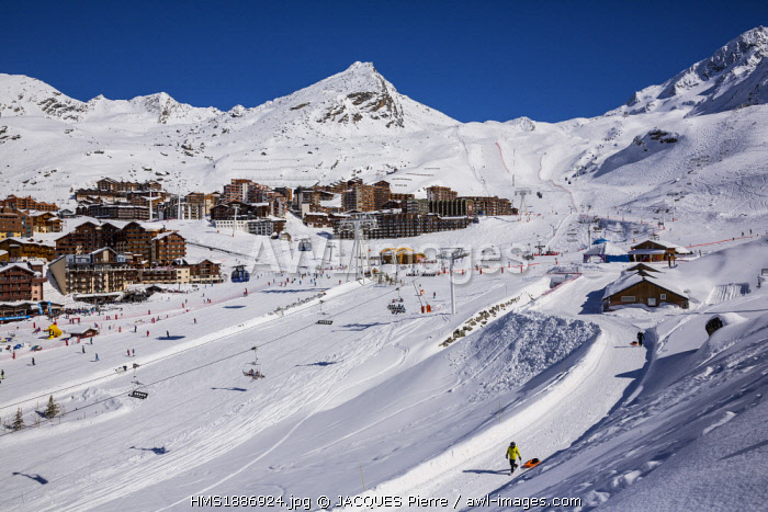 France, Savoie, Vanoise Massif, Les Trois Vallees (The Three Valleys) ski area, Val Thorens