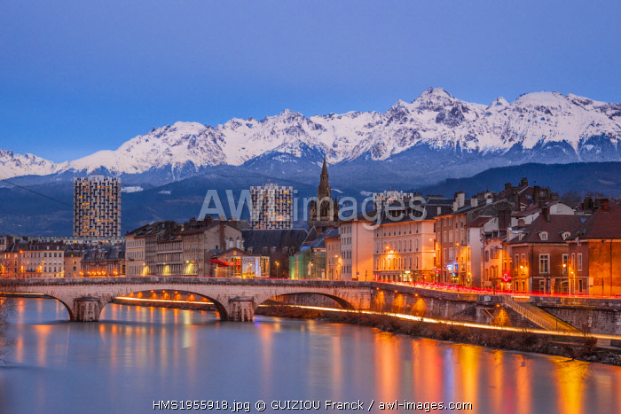 France, Isere, Grenoble, dusk on the banks of the Isere river, Belledonne massif in the background