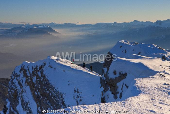 France, Isere, Parc naturel regional de la Chartreuse (Regional Natural Park of Chartreuse), hiking skiing Chamechaude which is the highest peak in the Chartreuse Mountains (2082m) in the background the Parc naturel regional du Vercors (Regional Natural Park of Vercors)