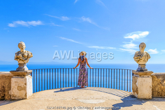 awl-images.com - Italy / Villa Cimbrone, Ravello, Amalfi coast, Salerno, Campania, Italy. Girl admiring the view from the Terrace of Infinity (MR)