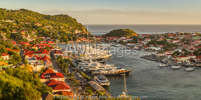 French West Indies, St-Barthelemy, Gustavia, Gustavia Harbor from Fort Gustave