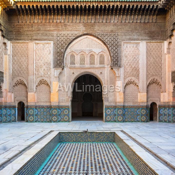 Morocco, Marrakech-Safi (Marrakesh-Tensift-El Haouz) region, Marrakesh. Interior courtyard of Ben Youssef Madrasa, 16th century Islamic college.