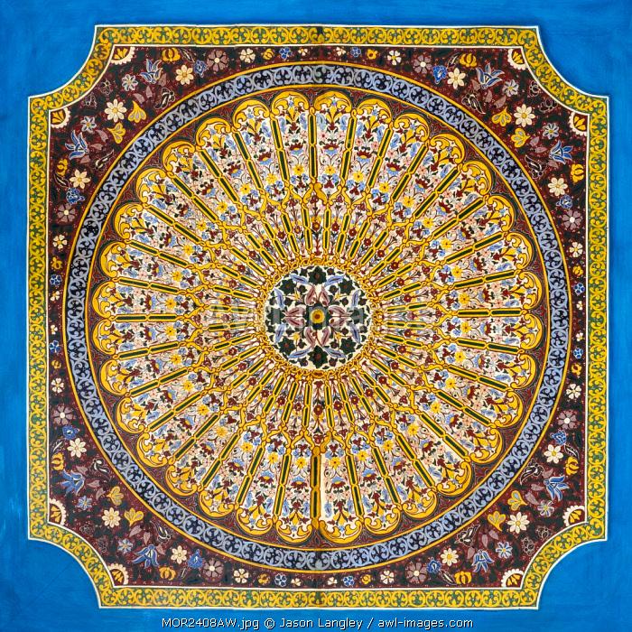Morocco, Marrakech-Safi (Marrakesh-Tensift-El Haouz) region, Marrakesh. Colorful painted ceiling at Bahia Palace (Palais de la Bahia).