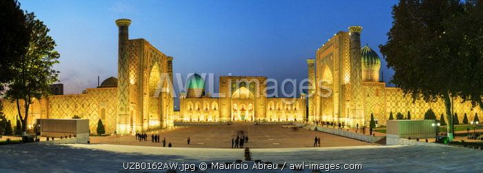 The Registan square  and its three madrasahs. From left to right: Ulugh Beg Madrasah, Tilya-Kori Madrasah and Sher-Dor Madrasah. A Unesco World Heritage Site, Samarkand. Uzbekistan