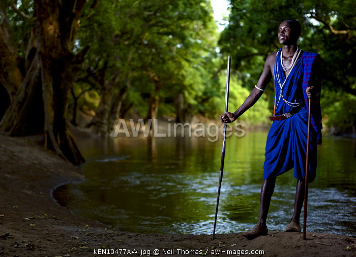 AWL Images Africa, Kenya  A Maasai warrior in a blue shuka