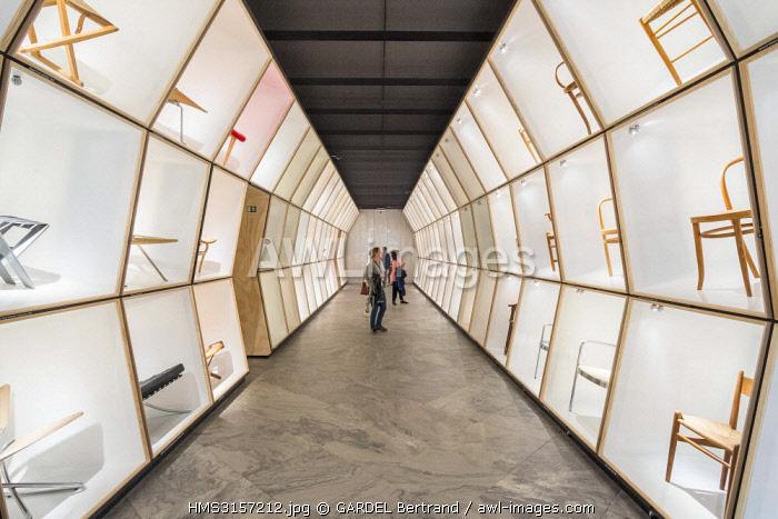 Denmark, Zealand, Copenhagen, Nyhavn district, Design Museum (Designmuseum Danmark), the design chair gallery