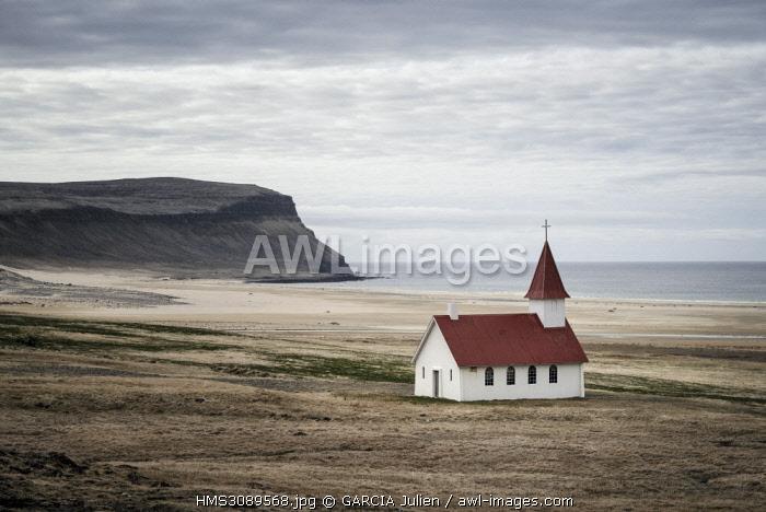 Iceland, Westfjords, Vestfirdir region, church of Breidavik