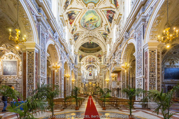 Italy, Sicily, Palermo, Church of the Gesu, baroque style, seventeenth century, house of the Jesuits.