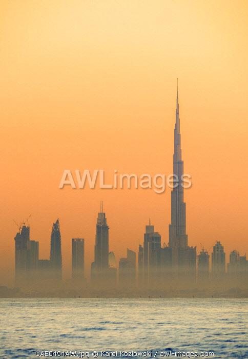 City Centre Skyline seen from Palm Jumeirah artificial island at sunrise, Dubai, United Arab Emirates