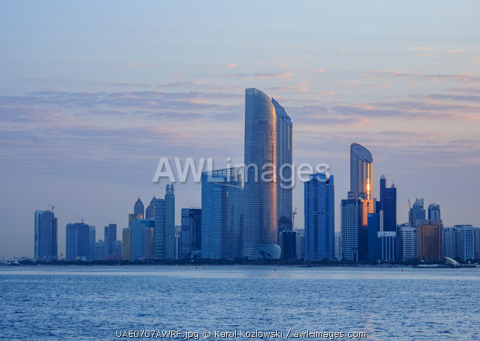 awl-images.com - United Arab Emirates / Skyline of the city center at sunrise, Abu Dhabi, United Arab Emirates