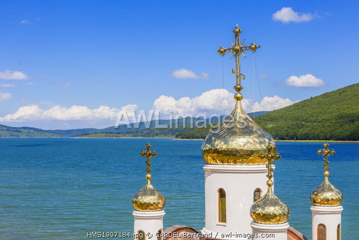 awl-images.com - Macedonia / Republic of Macedonia, Mavrovo National Park, Russian church on the shores of Lake Mavrovo created in 1947 by a dam on the Radika