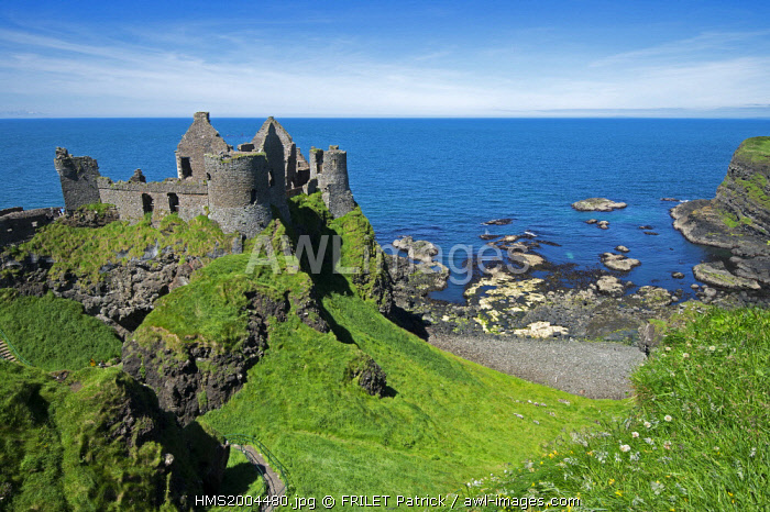 awl-images.com - Northern Ireland / United Kingdom, Northern Ireland, County Antrim, Bushmills, the 14th century castle of Dunluce
