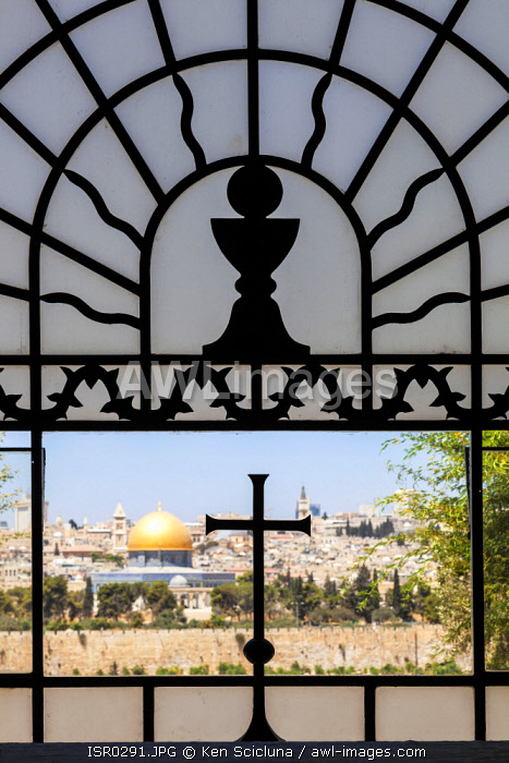 awl-images.com - Israel / Israel, Jerusalem. View of the old city and Dome of the Rock through the window of the Dominus Flevit Church.