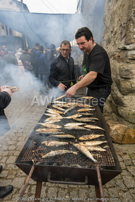 awl-images.com - Portugal / Grilled sardines for everybody. Honoring the traditional hospitality of Tras-os-Montes, everyone that is in the village, including foreigners, can eat delicious food offered by the villagers during the Winter Solstice Festivities. Parada de Infancoes, Portugal