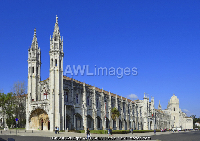 awl-images.com - Portugal / Portugal, Lisbon, Belem area, Santa Maria church of Jeronimos Monastery listed as World Heritage by UNESCO