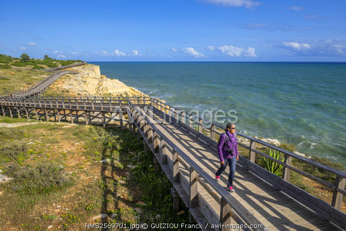 awl-images.com - Portugal / Portugal, Algarve region, Carvoeiro, coastal path laid out on a wooden bridge