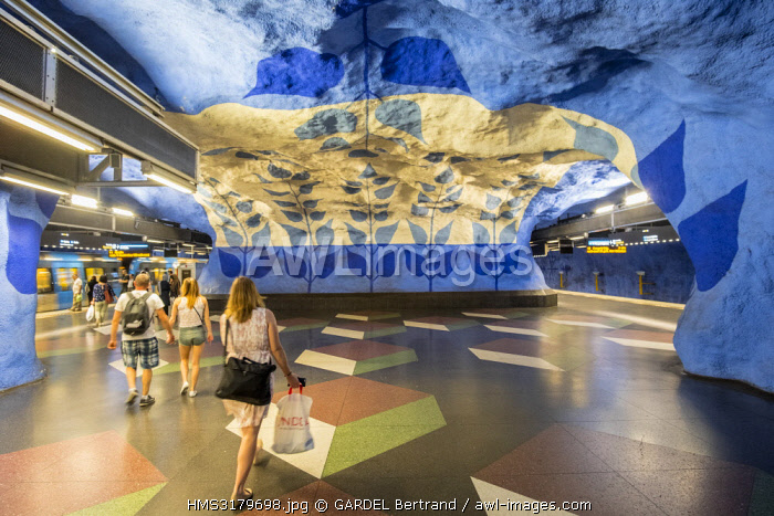 Sweden, Stockholm, Norrmalm district, T Centralen metro station with a background dating back to 1975 by the artist Per Olof Ultvedt