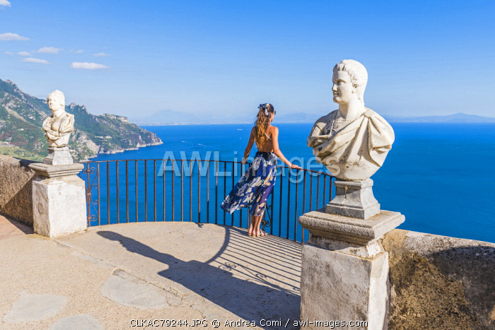 awl-images.com - Italy / Villa Cimbrone, Ravello, Amalfi coast, Salerno, Campania, Italy. Girl admiring the view from the Terrace of Infinity