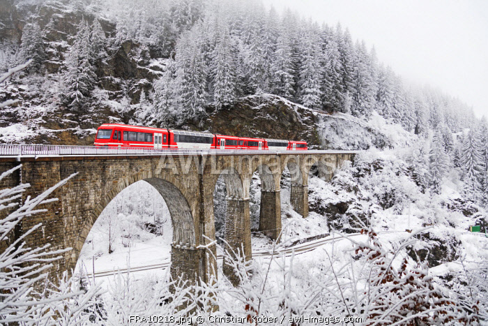 Europe, France, Rhone Alps, Haute Savoie, Chamonix, Mont Blanc Express train going over Viaduct St Marie