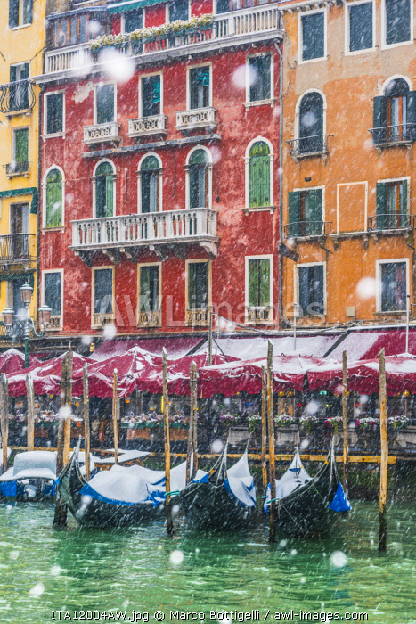 Venice, Veneto, Italy. Snowfall over moored gondolas along the Grand Canal (Canal Grande).