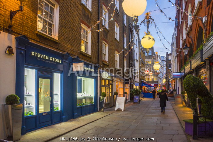 UK, England, London, The West End, off Oxford Street, St. Christopher's Place, Christmas Decorations