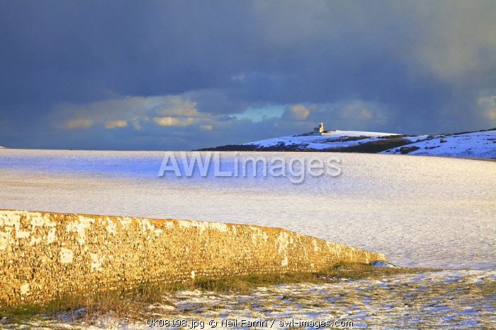 The Belle Tout Lighthouse Surrounded By Snow, Beachy Head, South Downs, East Sussex, United Kingdom,
