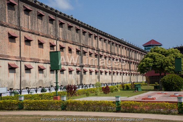 India, South Andaman Island, Port Blair. Infamous Cellular Jail National Monument aka Kala Pani. Infamous Colonial prison used by British to exile political prisoners. Courtyard view of cell block.