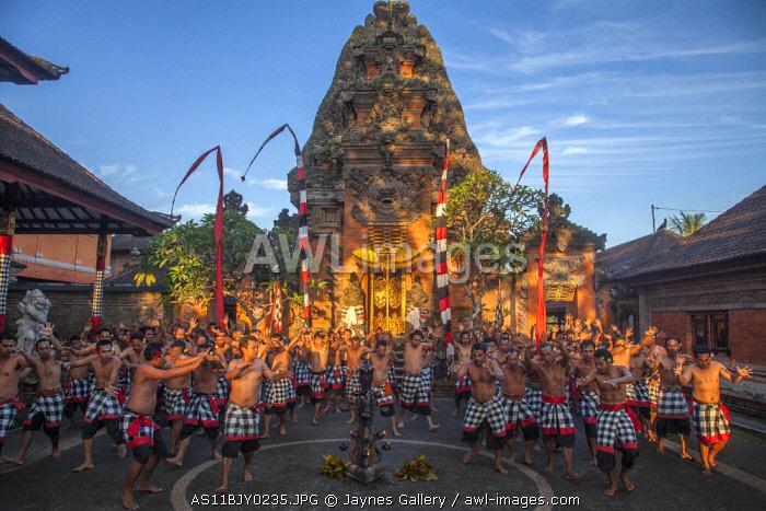 Indonesia, Bali. Kecak Fire Dance ceremony. (MR)