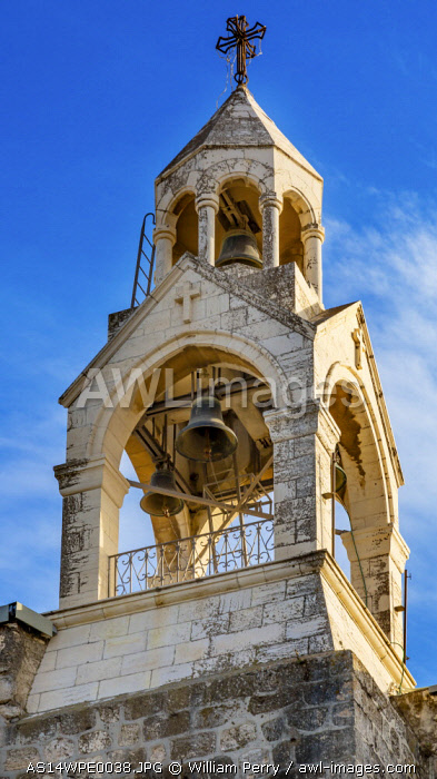 Steeple Belfry Bells Church of the Nativity, Bethlehem, West Bank, Palestine. Church located above grotto where Jesus was born. Location of Jesus' birth in writings in 160 AD, church built in 326 AD by Constantine