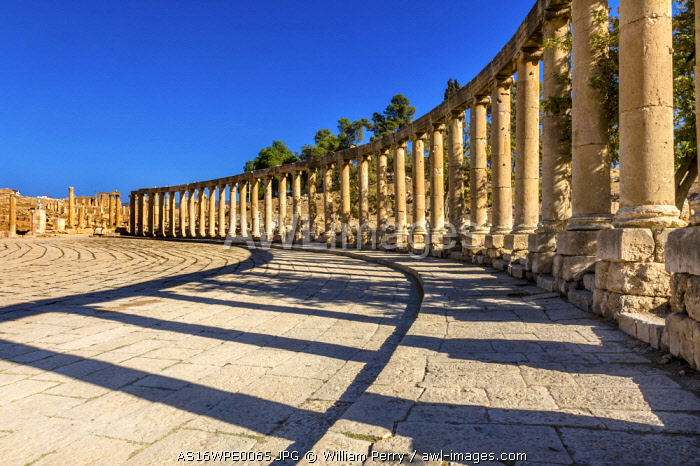 Oval Plaza, 160 Ionic Columns, Jerash, Jordan. Jerash came to power 300 BC to 100 AD and was a city through 600 AD. Not conquered until 1112 AD by Crusaders. Famous Trading Center. Most original Roman City in the Middle East.