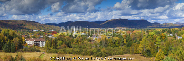 Canada, Quebec, The Laurentians, Mont Tremblant, Mont-Tremblant Town, town church, elevated view