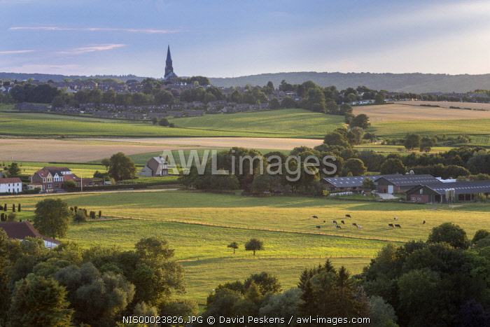 Church in a hilly landscape, The Netherlands, Limburg