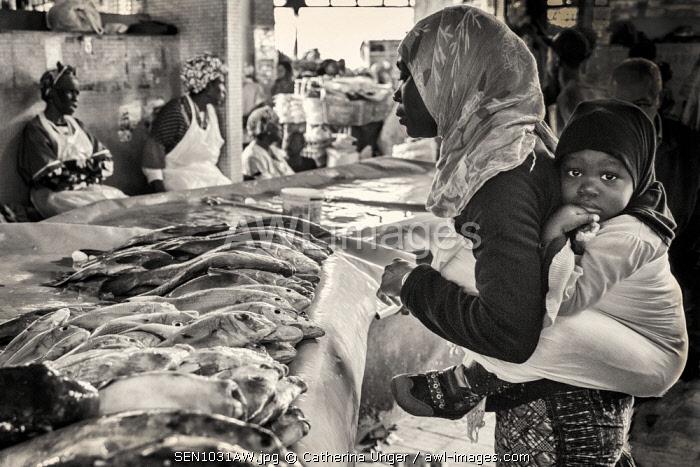 Africa, Senegal, Dakar. Inside the Kermel market.