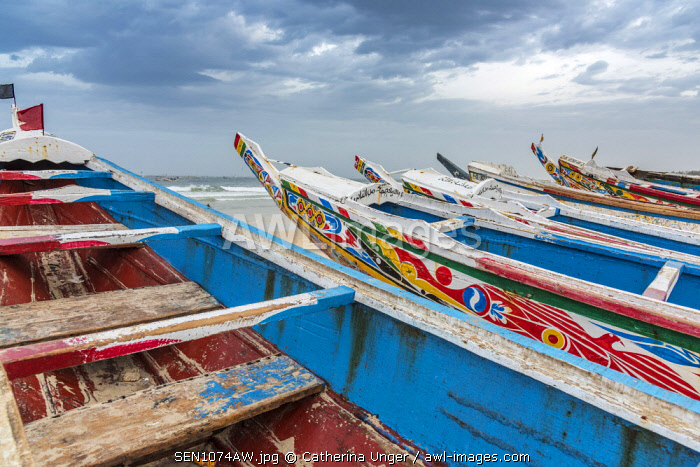 Africa, Senegal, Kayar. Boats on the beach of the fishing village.