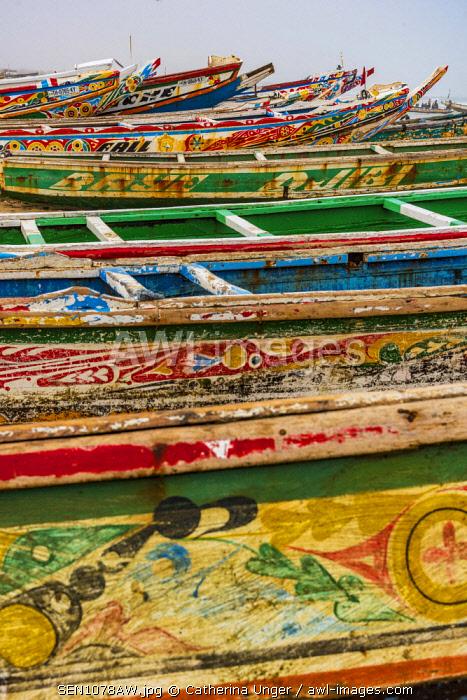 Africa, Senegal, Kayar. Fishing boats on the beach of the fishing village.
