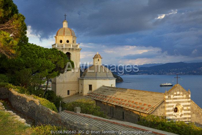 Evening sunlight on Church of San Lorenzo (12th C.), Portovenere, Liguria, Italy
