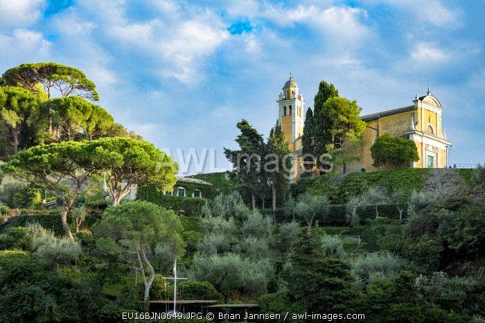 Evening view of Chiesa San Giorgio, Portofino, Liguria, Italy