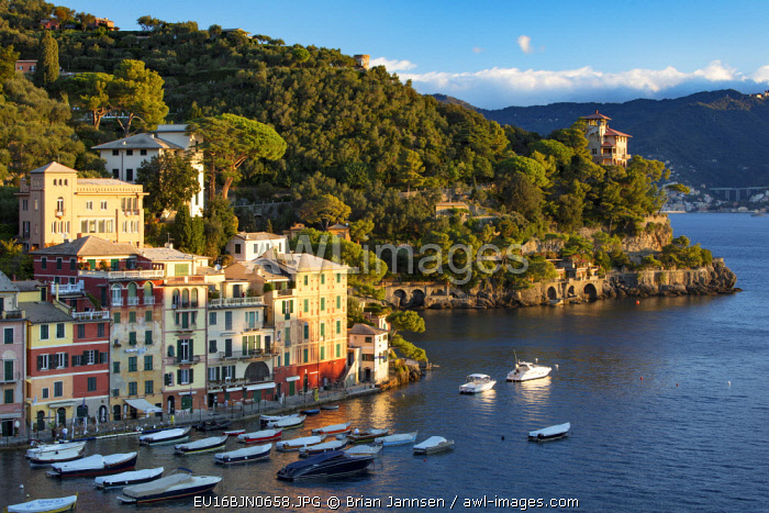 Early morning view over harbor town of Portofino, Liguria, Italy