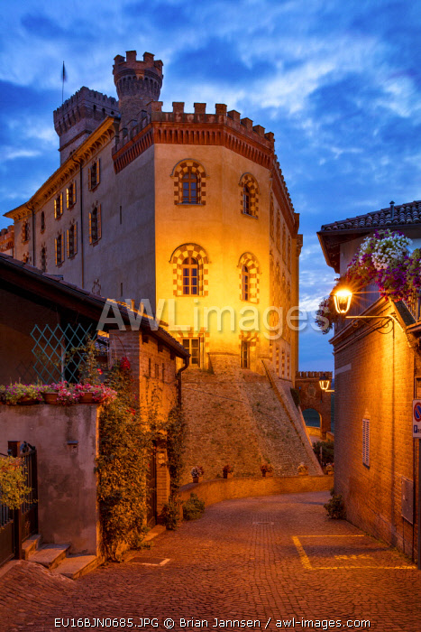 Twilight over medieval town of Barolo and Museo del Vino a Barolo, Langhe Region, Piemonte, Italy