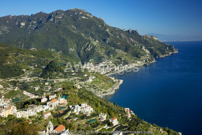 View from Villa Rufolo over looking the Amalfi Coast and the Gulf of Salerno, Ravello, Campania, Italy