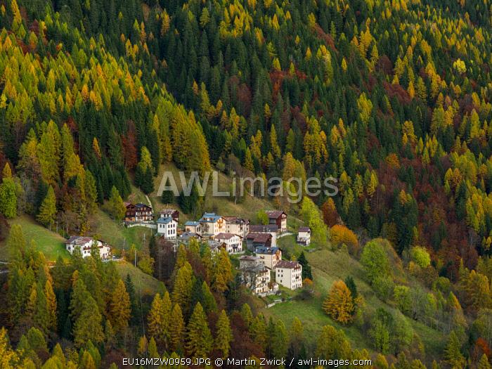 Village Costa in Val di Zoldo. The Dolomites of the Veneto are part of the UNESCO World Heritage Site, Italy