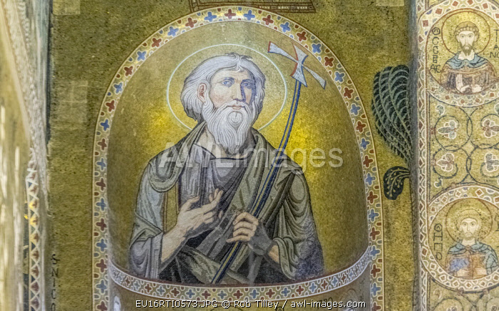 Italy, Sicily, Palermo, Palatine Chapel Mosaic Mural of St. Andrew commissioned by Norman King Roger II and completed in the 12th Century