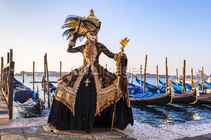 A woman in a magnificent costume poses in front of Gondolas during the Venice Carnival, Venice Lagoon, St. Mark's Square,  Venice, Italy
