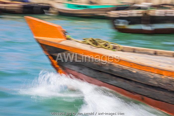 Bow of a small ferry boat on Dubai Creek, Dubai, United Arab Emirates
