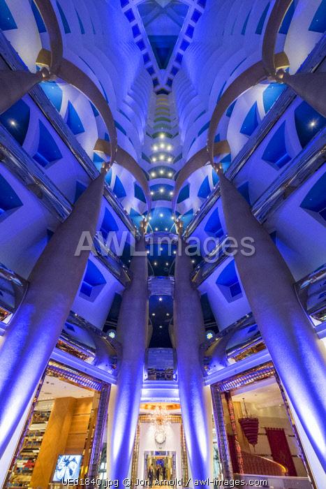 Atrium inside the Burj Al Arab hotel, Jumeirah, Dubai, United Arab Emirates